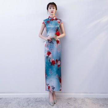 Cap sleeve full length floral cheongsam Chinese dress