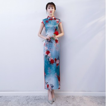 Cap sleeve full length floral cheongsam Chinese dress