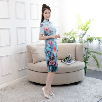 Blue floral short Chinese dress