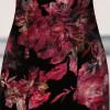 Floral print half sleeve knee length velvet cheongsam Chinese dress