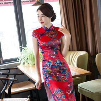 Full length brocade cheongsam red floral Chinese dress