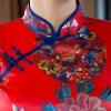 Full length brocade cheongsam red floral Chinese dress