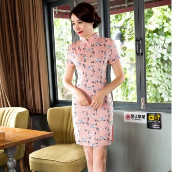 Short sleeve knee Length linen Cheongsam pink peach floral Chinese dress