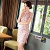 Short sleeve knee Length linen Cheongsam pink peach floral Chinese dress