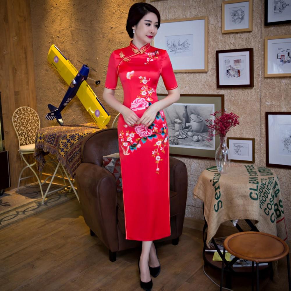 Half sleeve tea length floral cheongsam Chinese dress