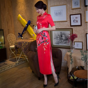 Half sleeve tea length floral cheongsam Chinese dress