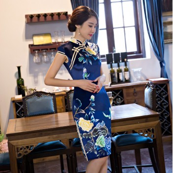 Cap sleeve mandarin collar blue short Chinese summer dress