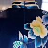Cap sleeve mandarin collar blue short Chinese summer dress