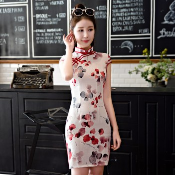 Cap sleeve knee length Chinese style dress