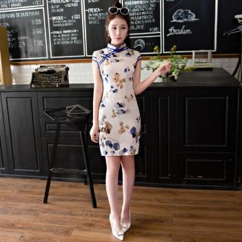 Cap sleeve mandarin collar linen Chinese dress
