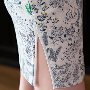 Cap sleeve mandarin collar floral printed short qipao