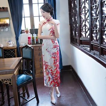 Cap sleeve mandarin collar red on white tea length cheongsam