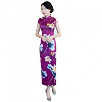Cap sleeve tea length purple floral cheongsam Chinese dress