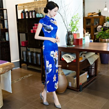 Cap sleeve tea length blue floral cheongsam Chinese dress