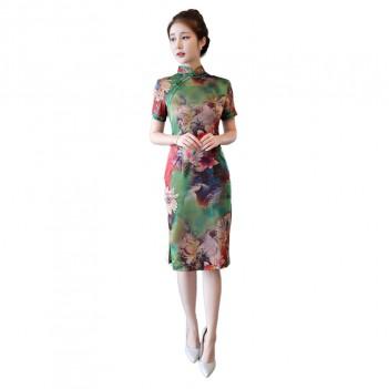 Cap sleeve mandarin collar green short cheongsam