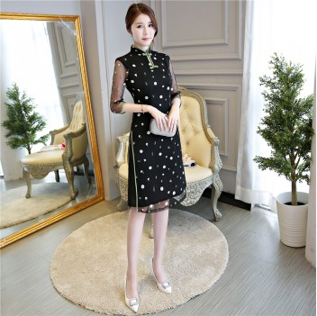 Black cheongsam knee length two-piece dress