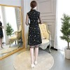 Black cheongsam knee length two-piece dress