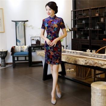 Cap sleeve mandarin collar dark blue short Chinese summer dress