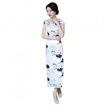 Cap sleeve rayon Cheongsam full Length Chinese dress