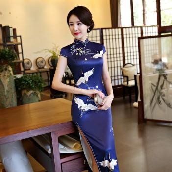 Cap sleeve crane print tea length cheongsam Chinese dress