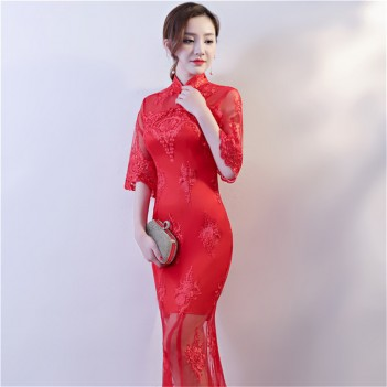 Flroal embroidered red lace A line mandarin collar wedding dress