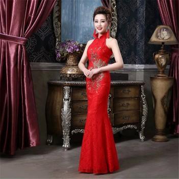 Phoenix embroidery brocade cheongsam Chinese wedding dress