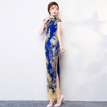 Full length dark blue cheongsam evening dress with floral embroidery