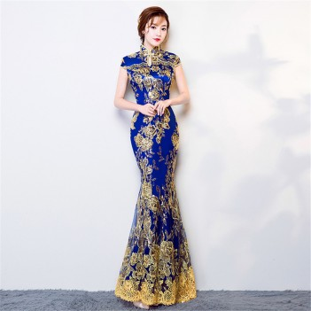 Key hole neck cheongsam Chinese dress with lace floral embroidery