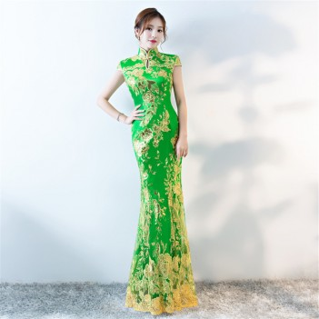 Green key hole neck cheongsam Chinese dress with lace floral embroidery