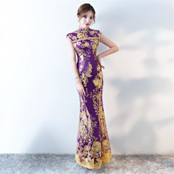 Purple key hole neck cheongsam Chinese dress with lace floral embroidery