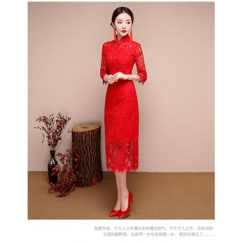 Half sleeve knee length floral lace cheongsam Chinese dress