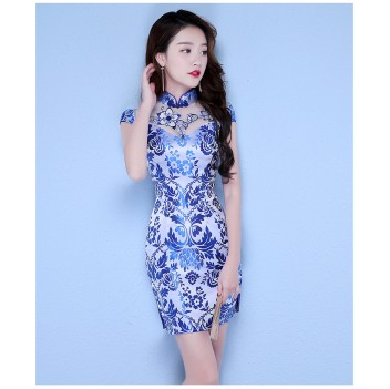 Knee Length cheongsam blue floral Chinese dress