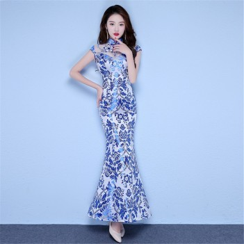 Full length blue Cheongsam floral Chinese dress
