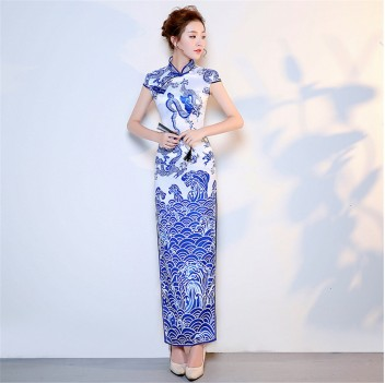 Blue full Length floral rayon cheongsam Chinese dress