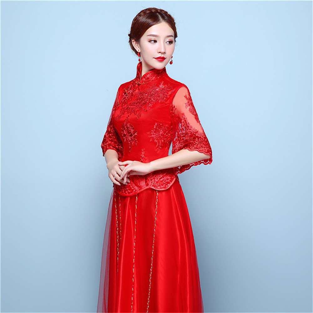 Red Lace Half Sleeve Aline Chinese Wedding Dress