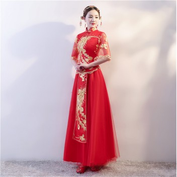 Full length half Sleeve cheongsam Chinese wedding dress with phoenix embroidery