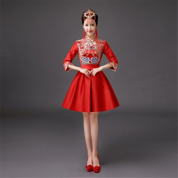 Half sleeve mandarin collar Chinese wedding dress