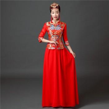 Half sleeve full length cheongsam Chinese wedding dress