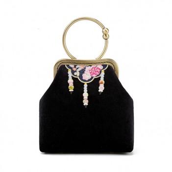 Chinese style cheongsam bag ethnic style handbag embroidered bag mouth gold bag beaded pendant antique bag