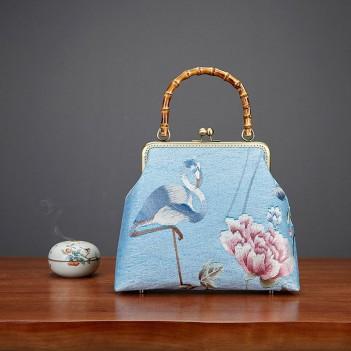 Bamboo bag retro style handmade bag handbag white crane peony embroidery female bag send mother bag