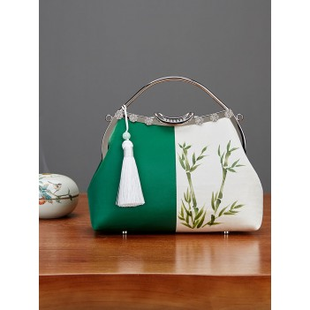 Handmade bag literary forest bag small fresh bag female antique stitching bamboo hand-painted bag