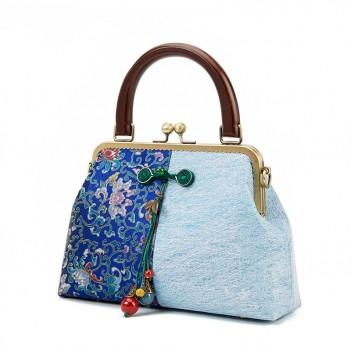 Chinese style retro female bag handbag handmade cheongsam bag wild gold bag shoulder messenger bag female fabric bag