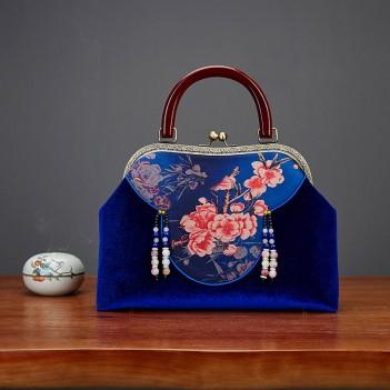 Antique Bags|Elegant Ladies Handbags|Cloud Shoulder Design Cheongsam Bag|Shili Peach Blossom Female Bag