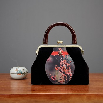 Black velvet handbags | retro bags | plum stitching one-shoulder messenger bag | mother handbag