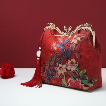 Chinese style wedding mother bag | wine red bridal bag messenger bag | large-capacity silk bag portable wedding bag women
