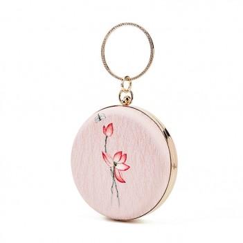 Antique small round bag pink lotus embroidery Hanfu bag handbag shoulder messenger mouth gold bag