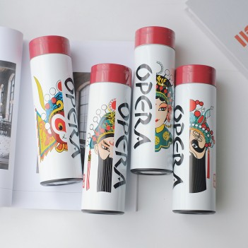 Chinese Peking Opera Stainless Steel Water Bottle Vacuum Thermos Cup Leak Proof Insulated Travel Coffee Mug