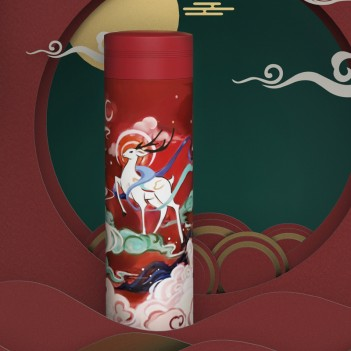 Unique Logo Design Stainless Steel Vacuum Thermos Printing Chinese Style Vacuum Thermos High-End Gifts Bottles