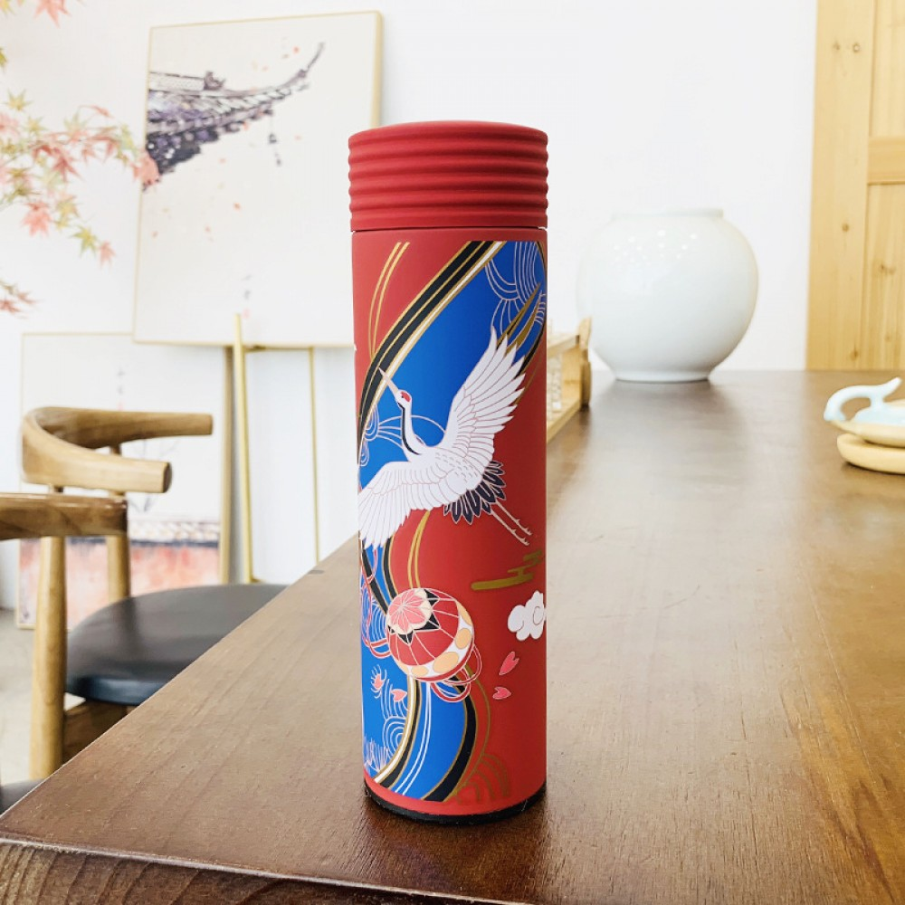 Stainless Steel Vacuum Thermos Printing Chinese Style Vacuum Thermos High-End Gifts Bottles