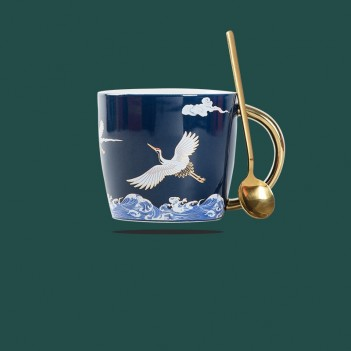 National Tide Mug Creative Double Crane Water Cup |Coffee cup high-end national style couple ceramic mug gift